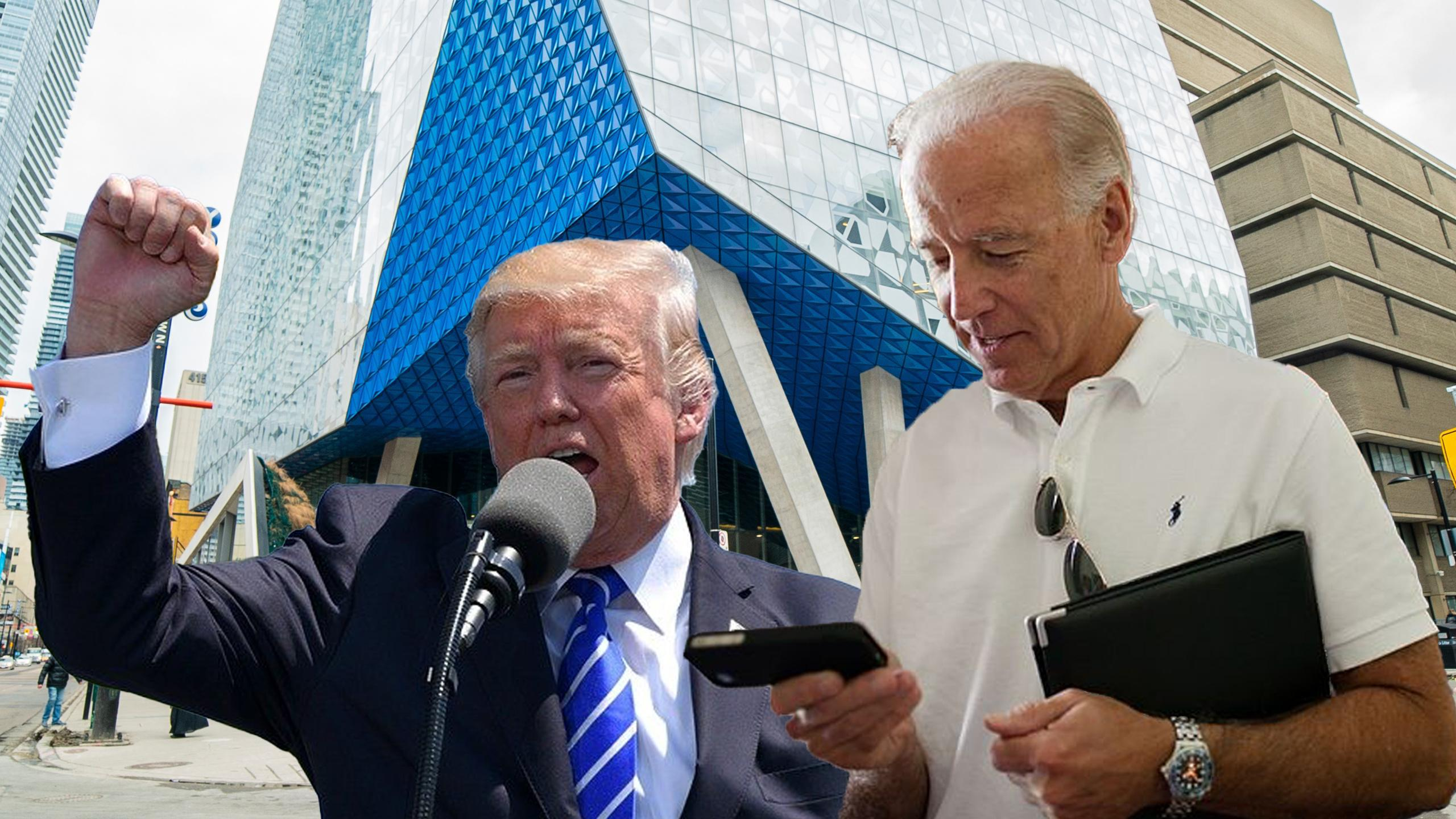 Donald Trump and Joe Biden photoshopped in front of SLC.