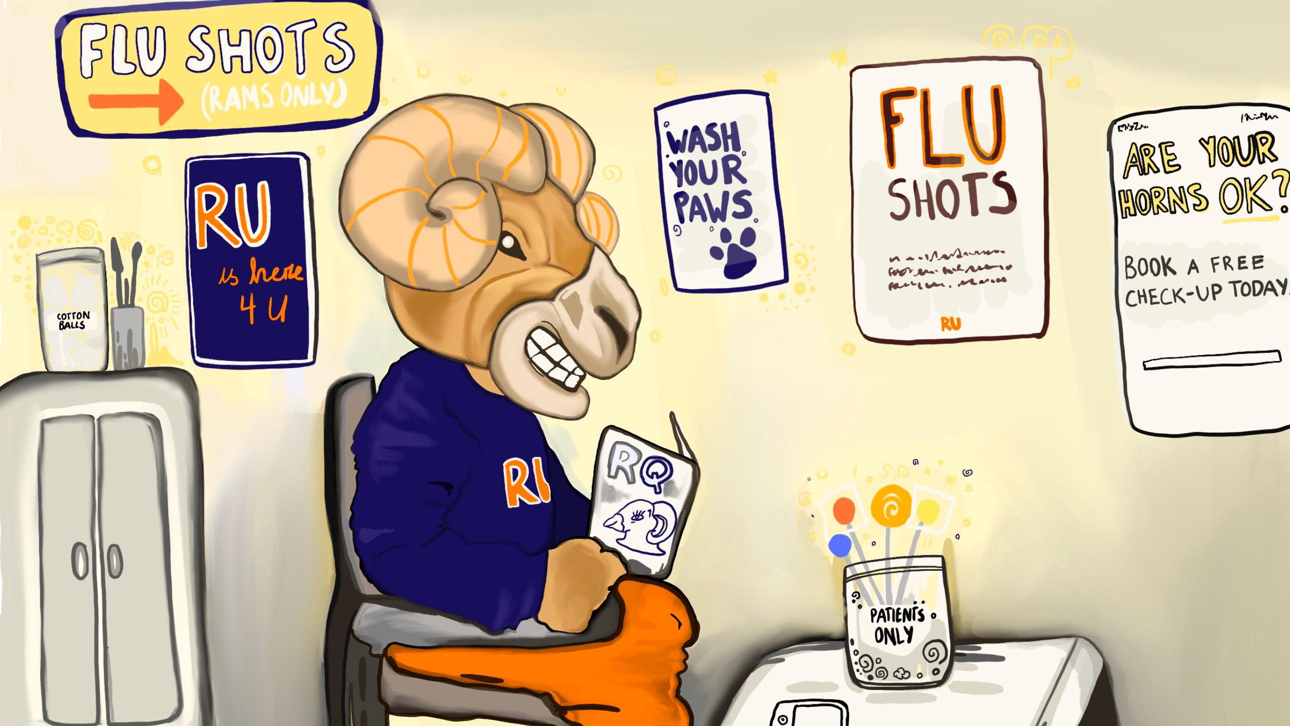 Eggy the Ram sitting in a doctor's office.