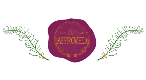 An illustration of a deep purple wax seal with the word approval written on it in gold. The deal is surrounded by two green ferns on either side.