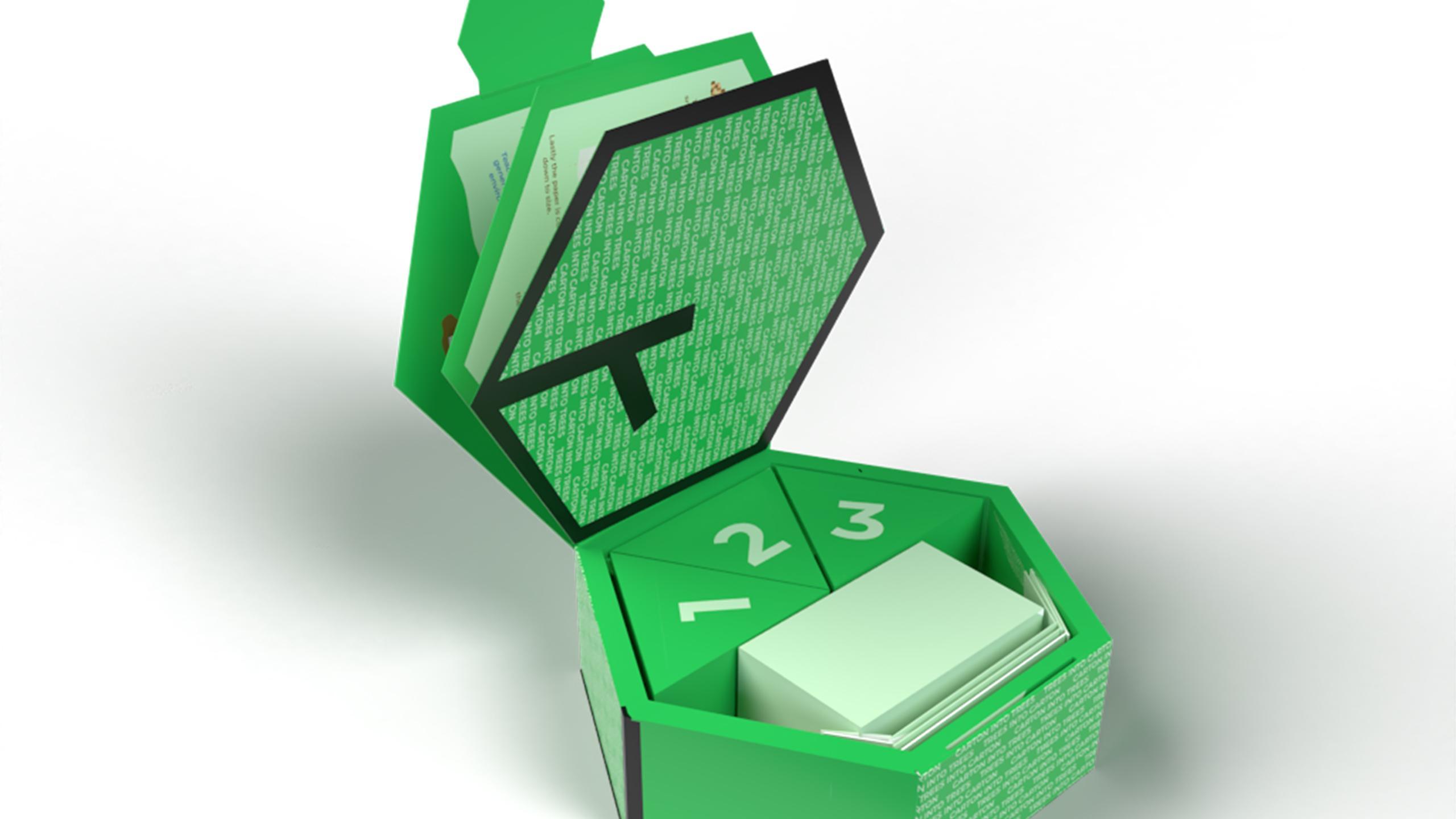 Green hexagonal paper box.