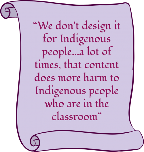 """A purple scroll with text that says: """"We don't design it for Indigenous people...a lot of times, that content does more harm to Indigenous people who are in the classroom."""""""