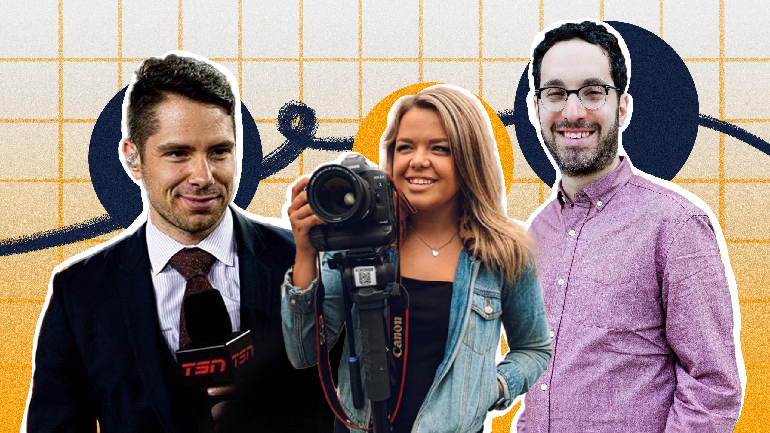 A collage of a man in a suit holding a TSN microphone, a woman smiling holding a DSLR, and another man smiling.
