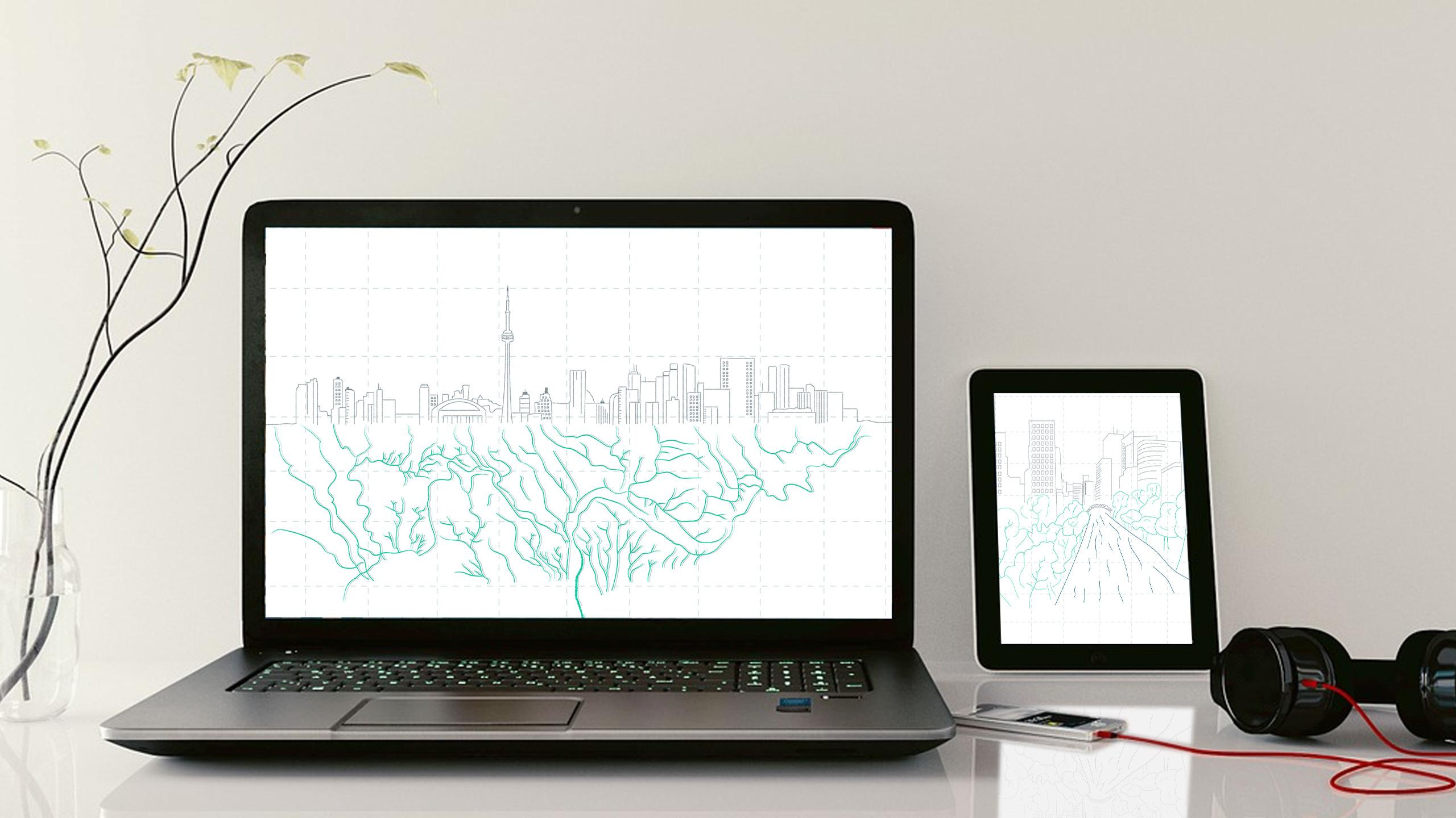A tablet and a laptop screen displaying illustrations of Toronto.