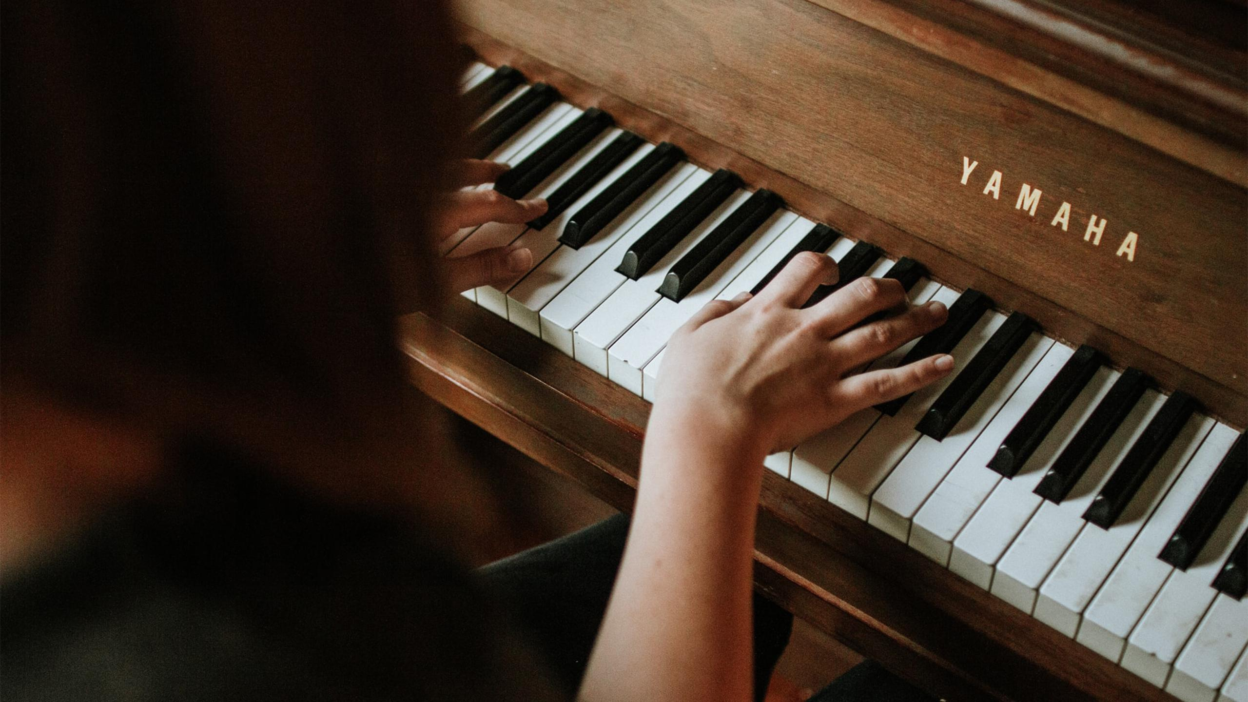 A person playing piano.