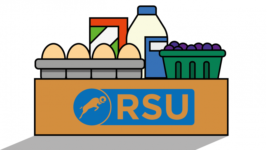 Various groceries in a cardboard box with the RSU logo on it.