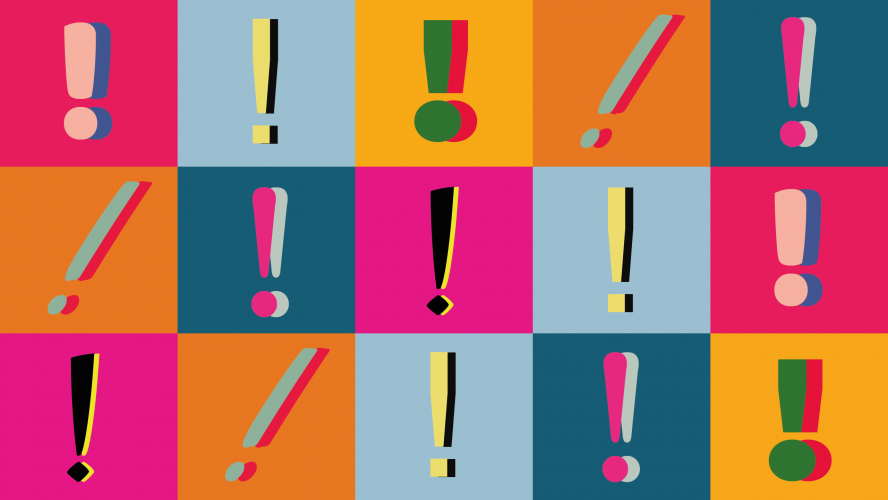 A collage of colourful exclamation marks.