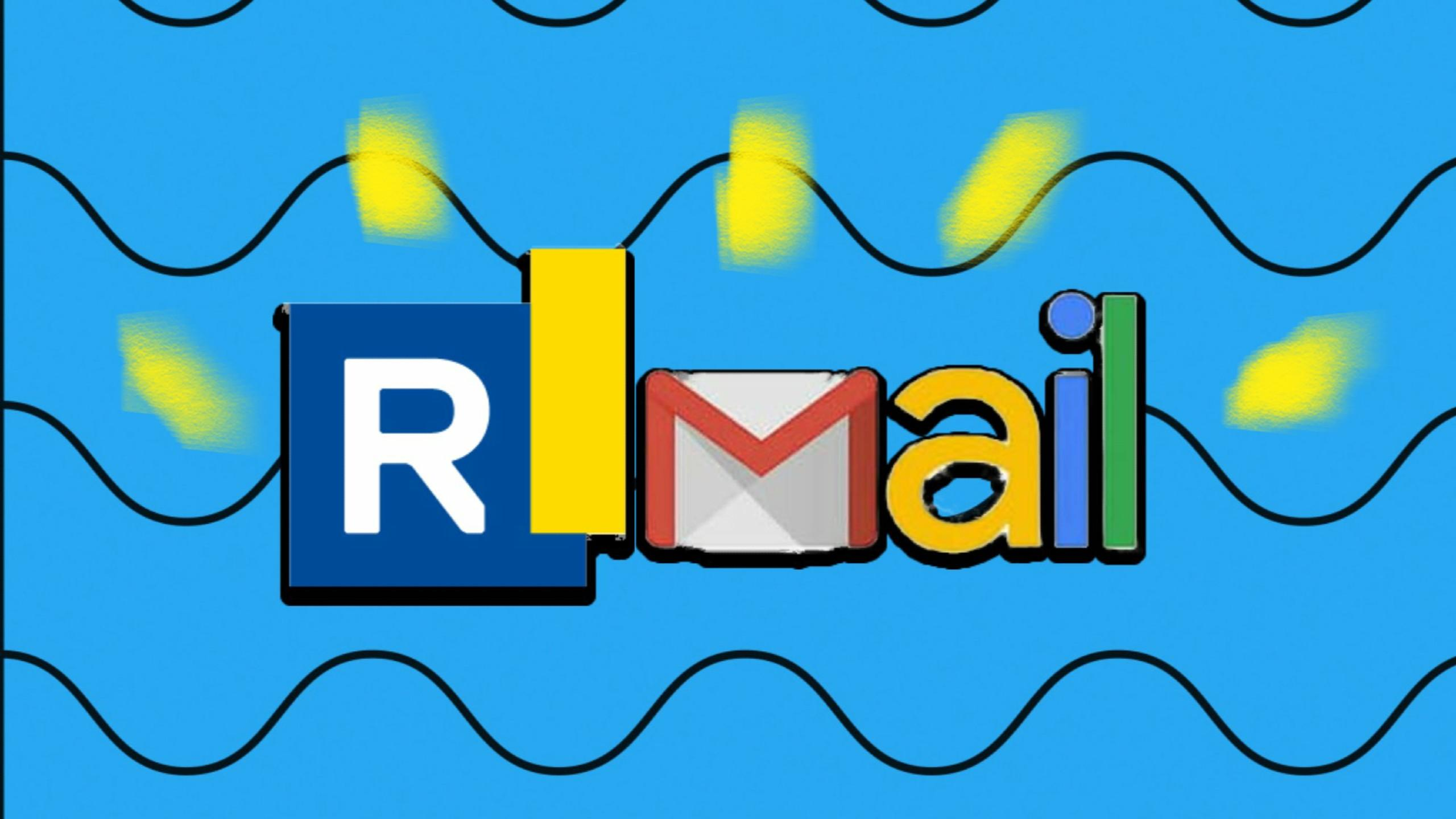 Email logo that spells 'RMail' in front of a blue wallpaper