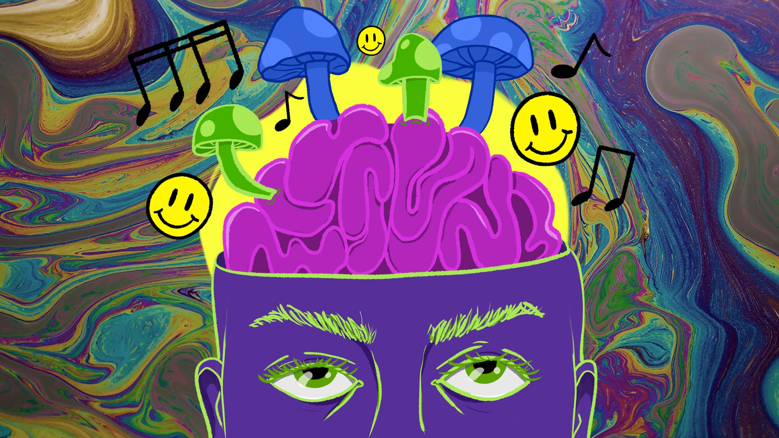 Illustration of a person's head with mushrooms, smiley faces and music notes coming out of their brain.