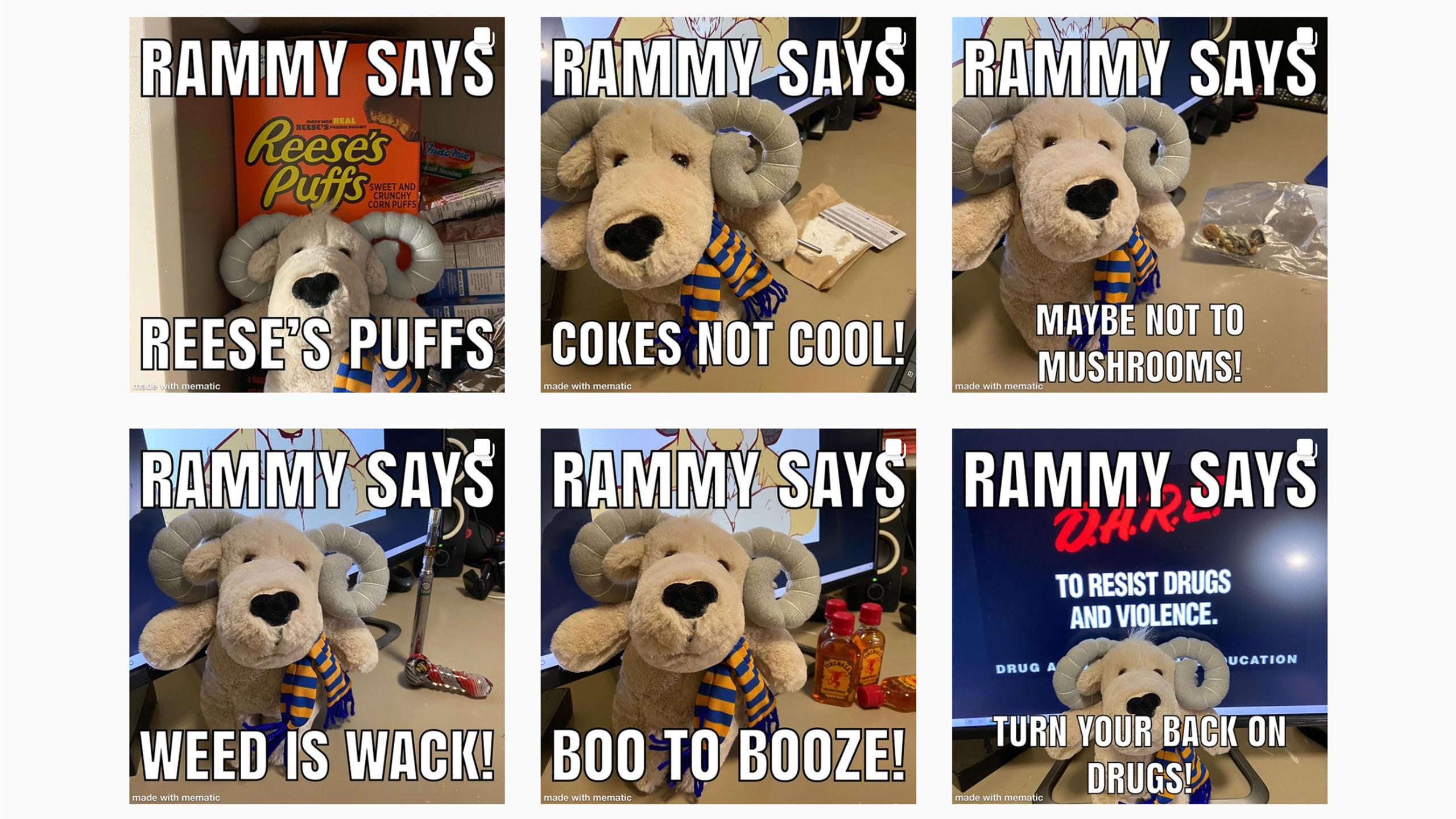 """Six memes featuring an Eggy plushie with captions like """"Rammy says boo to booze."""""""