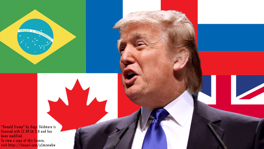 Donald Trump in front of a collage of world flags.