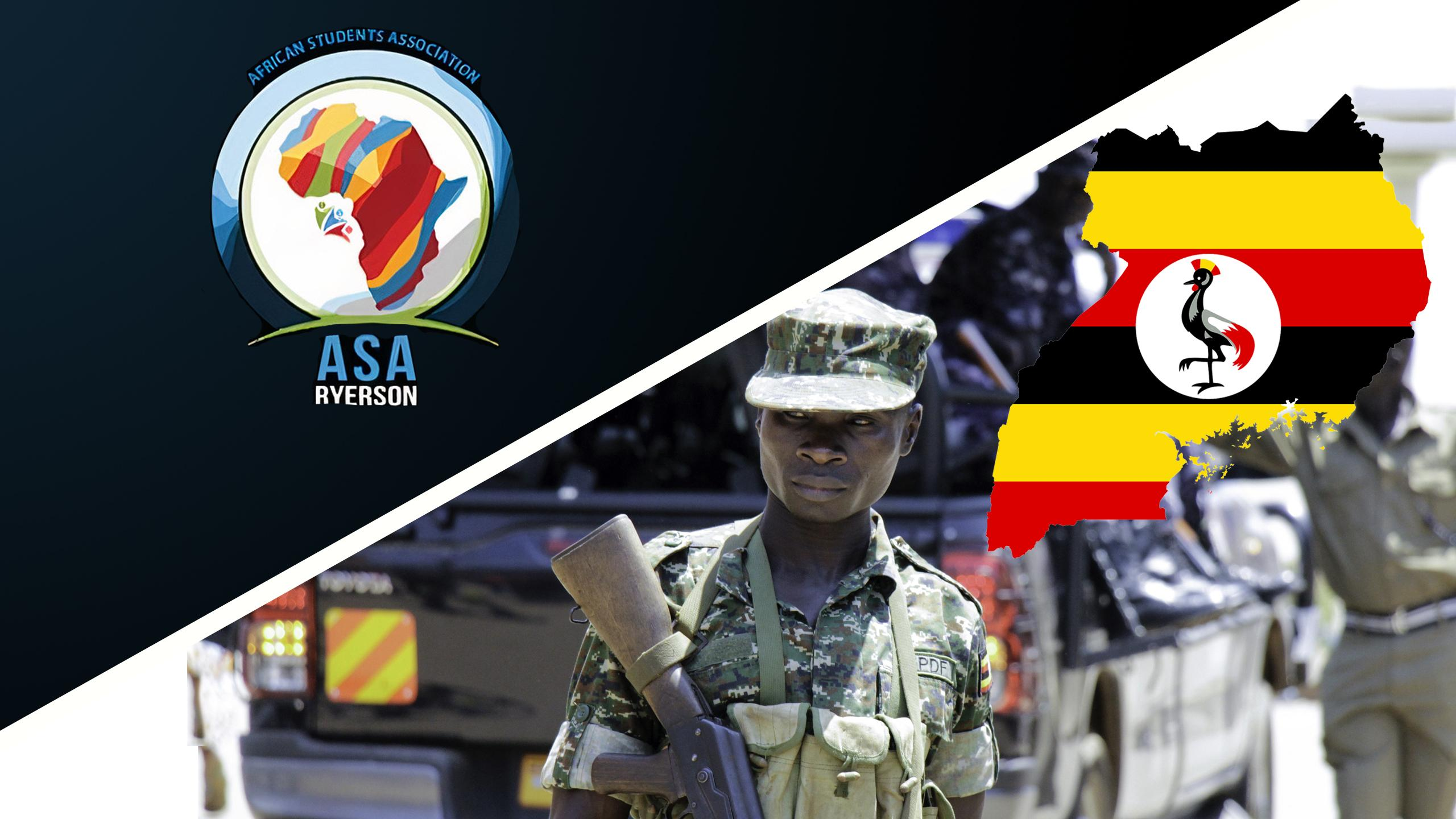 Logo of Ryerson's African Students Association next to 2016 photo of Uganda's military police