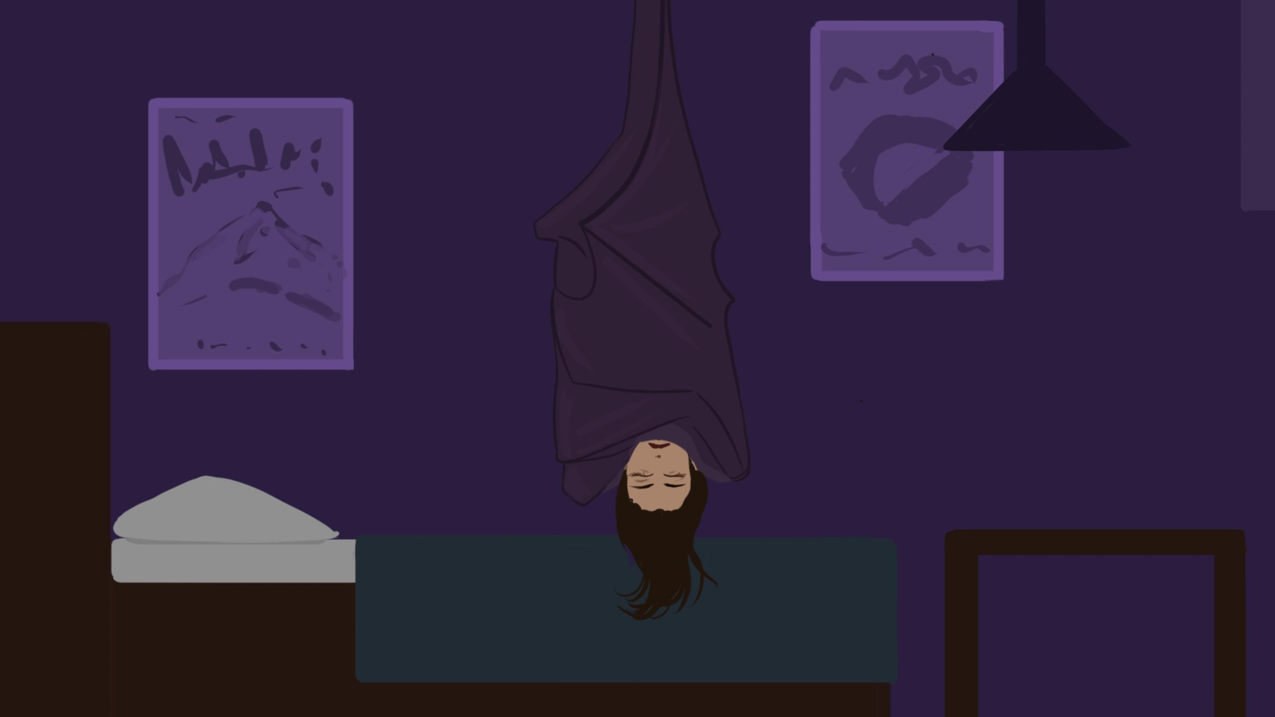 A bat with a human face hanging upside down over their bed.