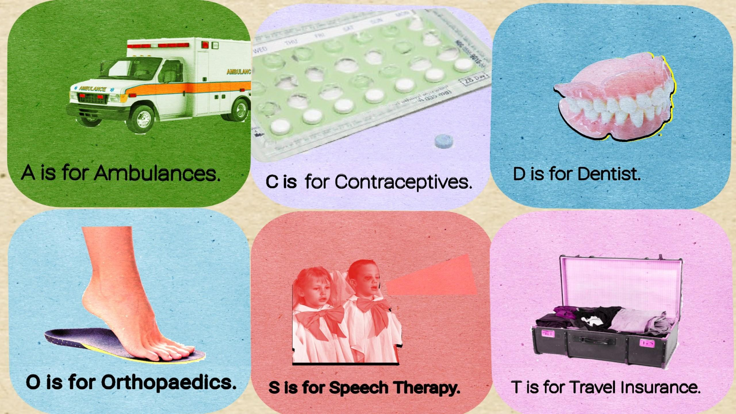 Six cards that associate letters of the alphabet with different health related topics.