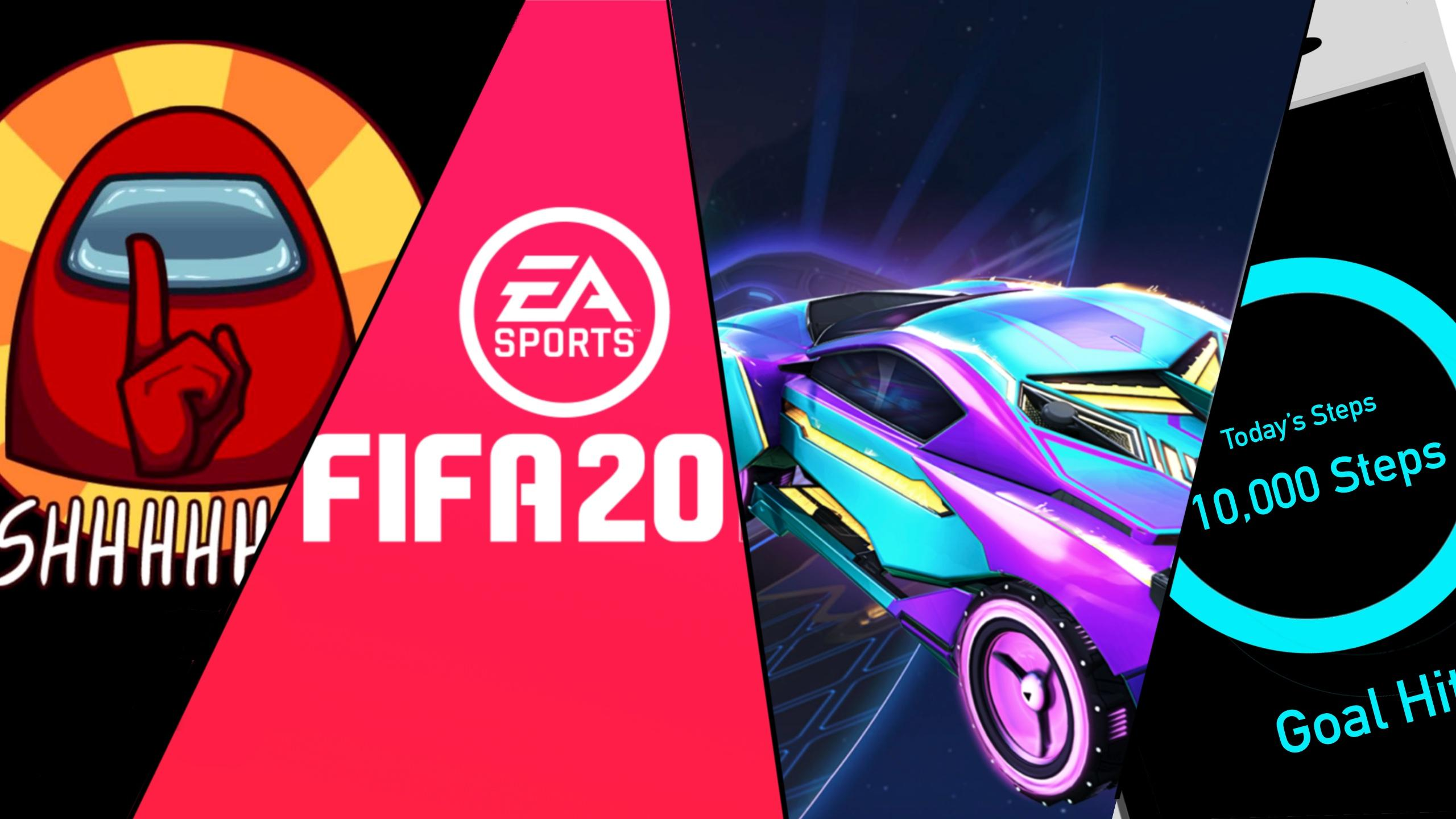 Photo of Among Us Screenshot, FIFA 20 Poster, Rocket League Official Art and screen displaying 10,000 steps.