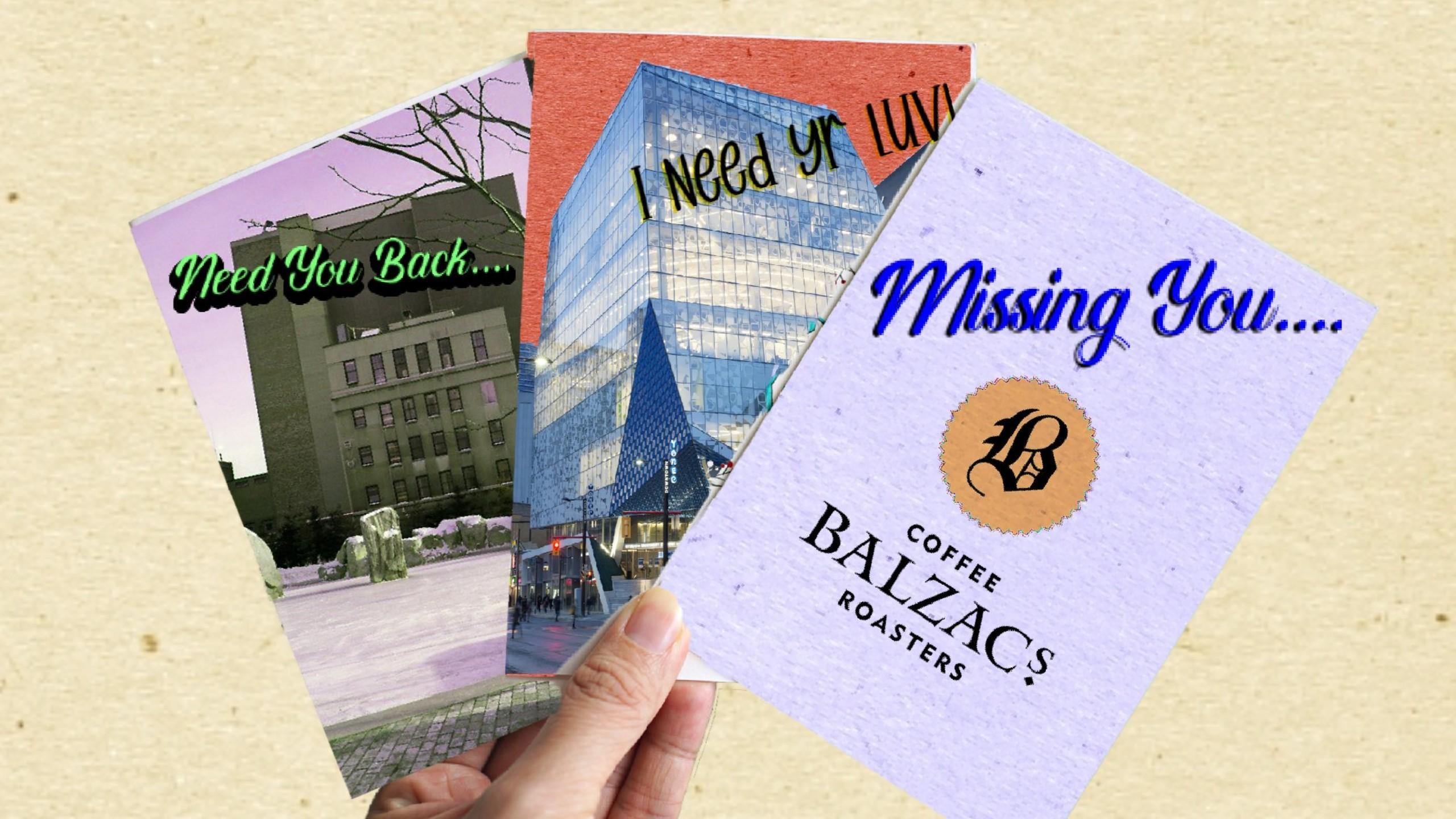 """Three greeting cards each saying """"i miss you"""""""