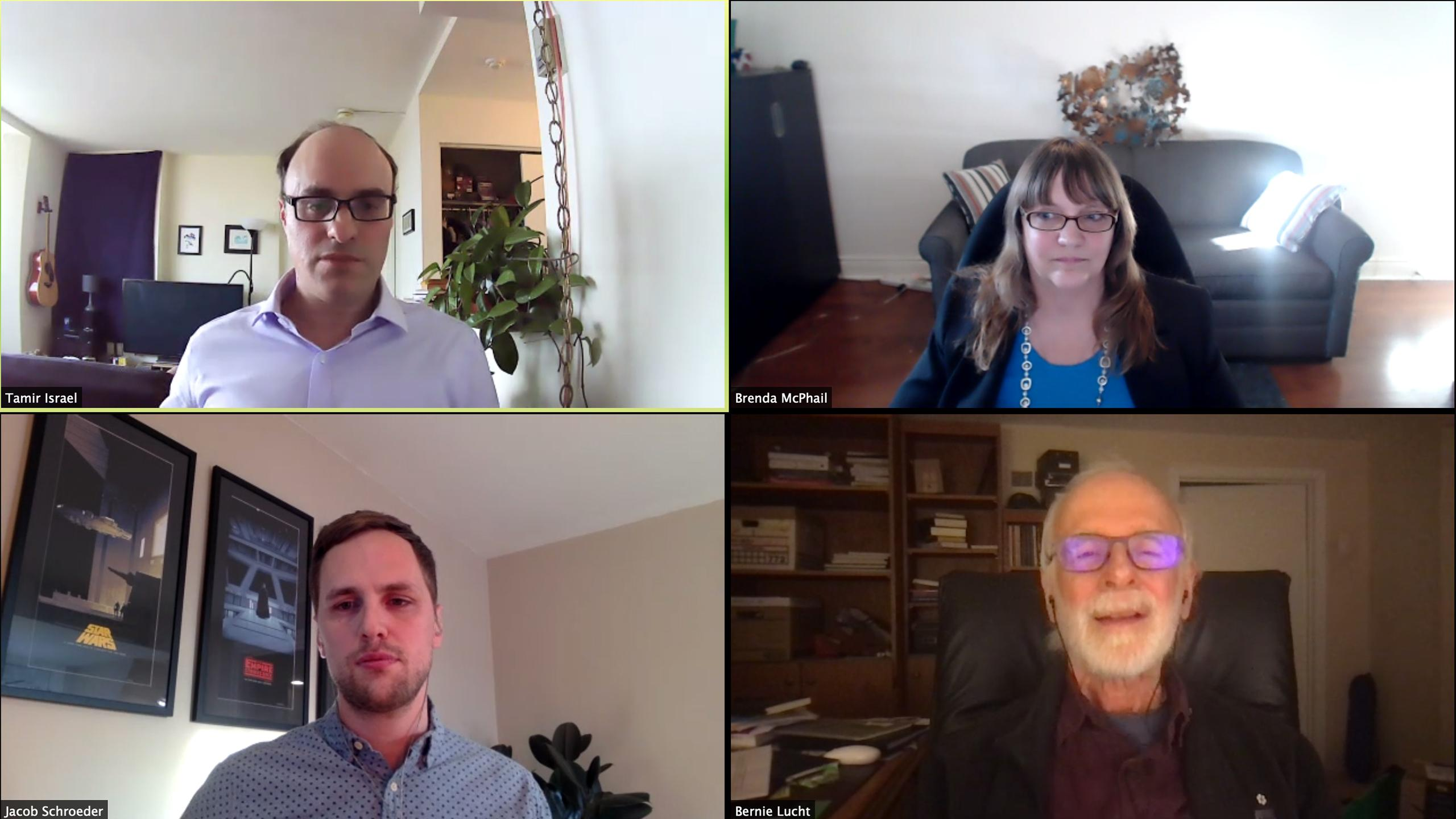 A video call with Tamir Israel, Brenda McPhail, Jacob Schroeder and Bernie Lucht.