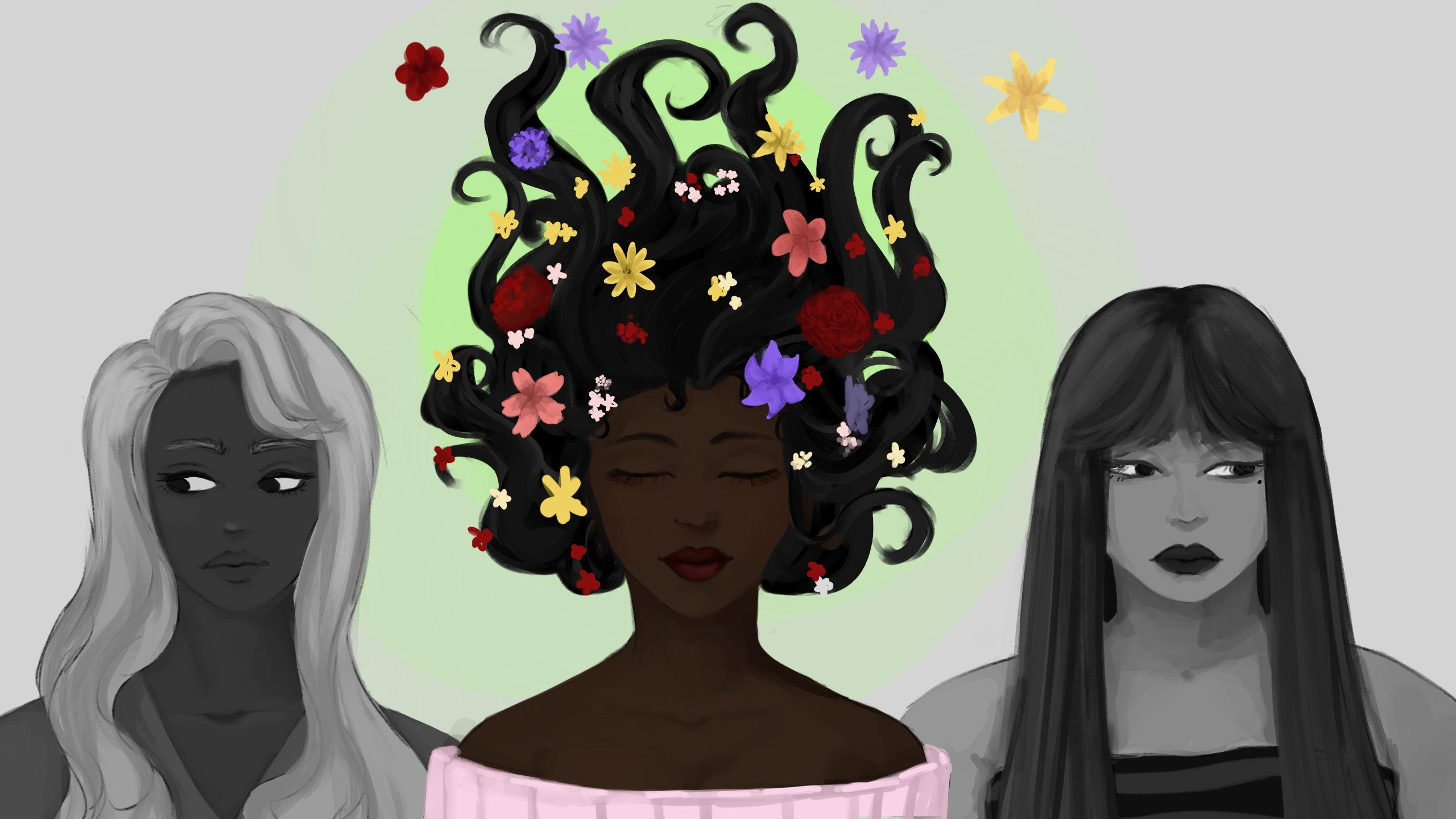Three black women lined up. Woman in the centre is coloured, and hair is flowing around her with flowers on it. Two women on her left and right are both in black and white.