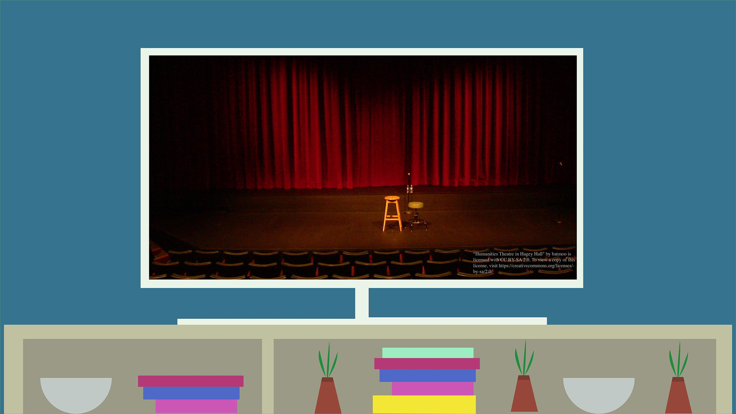 An illustration of a TV sitting on a TV stand. On the screen, it shows a theatre stage with a stool and mic.