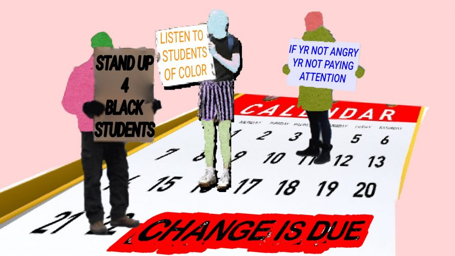 """Protestors marching down a calendar, the bottom of the calendar has a stamp on it that reads """"CHANGE IS DUE"""""""