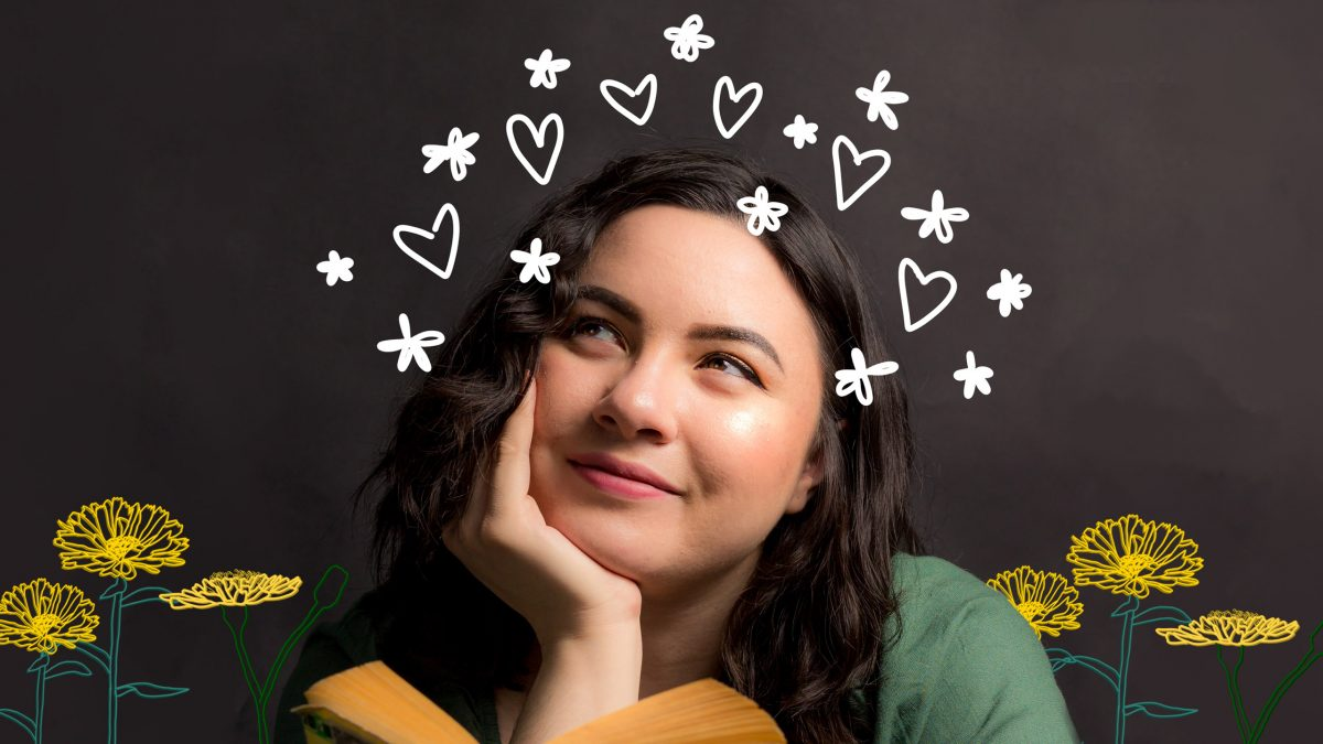 An image of Catherine Abes, who has dark brown-black hair and pale skin, staring dreamily into the distance with her face resting in her hand. Surrounding her head are white doodles of hearts and flowers, and beside her are illustrations of yellow dandelions.