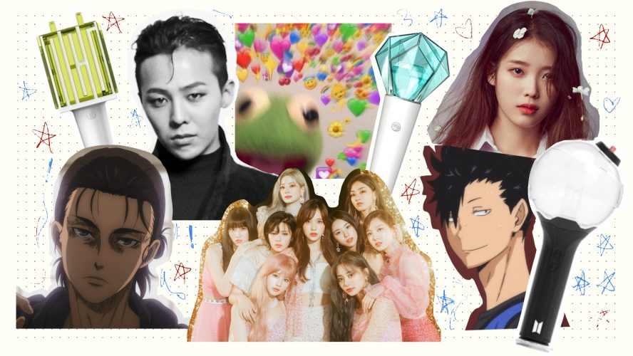 Collection of different k-pop artists and anime characters.