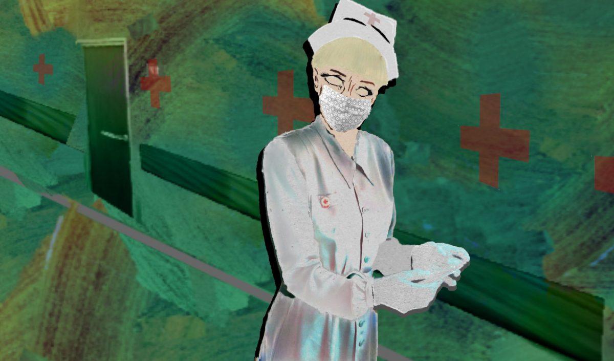 Nurse walks down a hallway with teal walls.