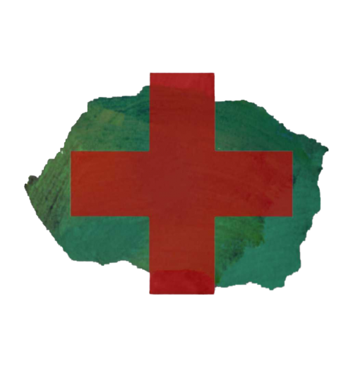 A red cross on top of a brushstroke of teal paint.