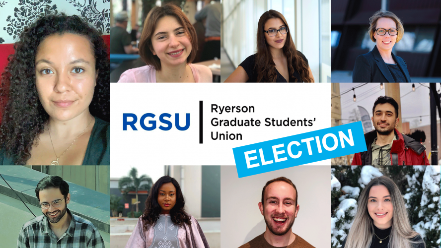 Candidates and acclaimed executive members of RGSU.Upper row from left to right: Charlotte Ferworn, Anastasiia Lepitrop, Rebecca Cabral-Dias and Jolene Hunt Bottom row: Mohammed Amin Shirazain, Jack Adebisi, Christopher Randall, Fallan Mitchell and Pooyan Nayyeri