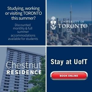 "Advertisement for the Chestnut Residence at the University of Toronto. Text on the ad reads: ""Studying, working or visiting Toronto this summer? Discounted monthly and full summer accommodations available for students. Book online."""