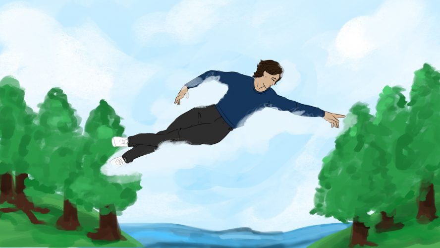 A man is floating in the sky, his hands reaching out to one side of land.