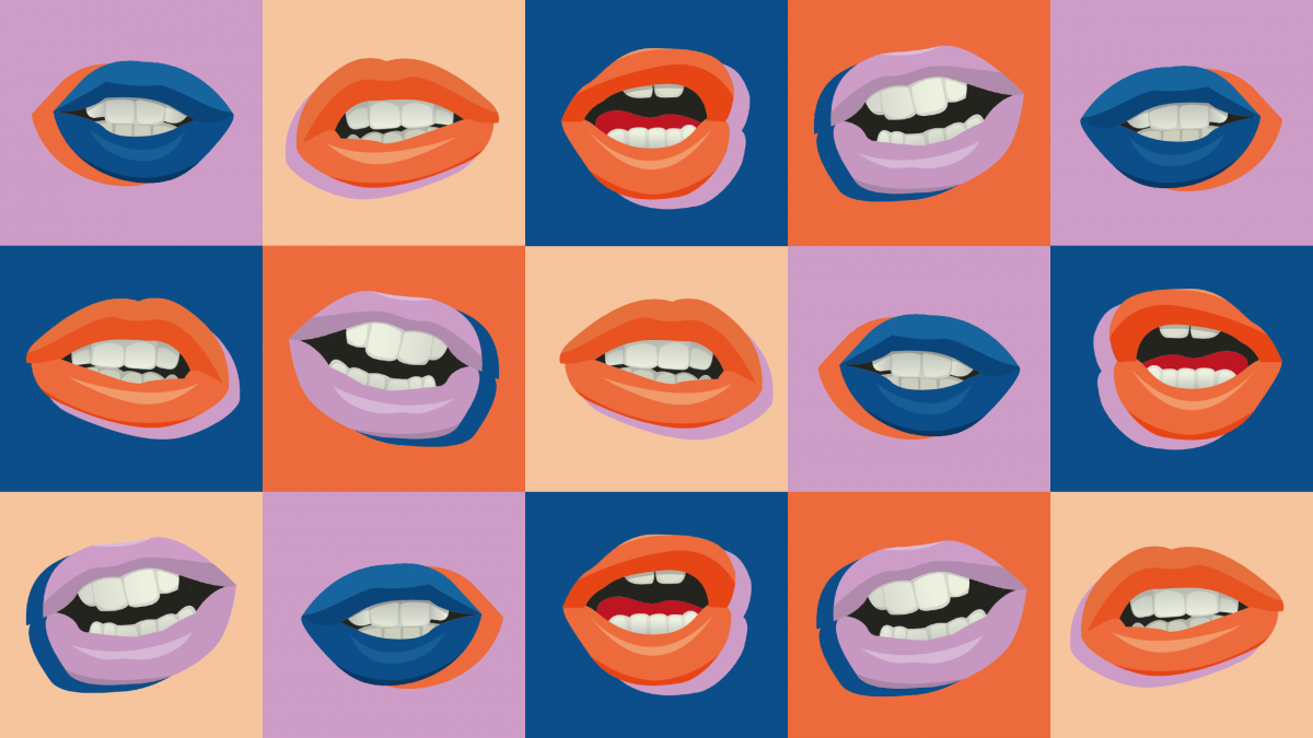 Brightly coloured lips in blue, cream, blue and red squares
