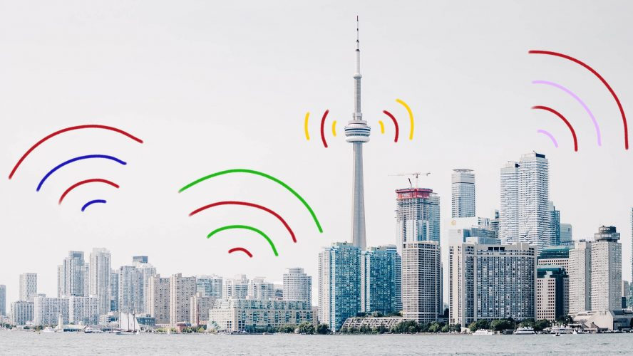Toronto with audio waves coming out of it.