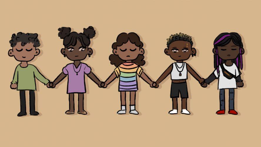 Illustration of 5 Black people holding hands.