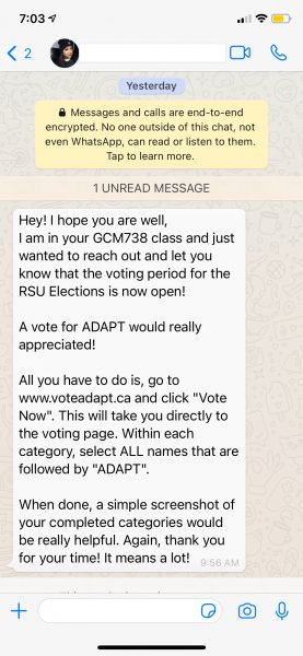 WhatsApp messages sent by an Adapt candidate to an Eyeopener masthead member