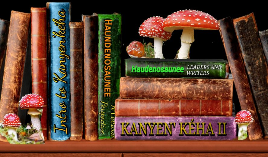 A bookshelf filled with old books that have some red mushrooms placed on top.