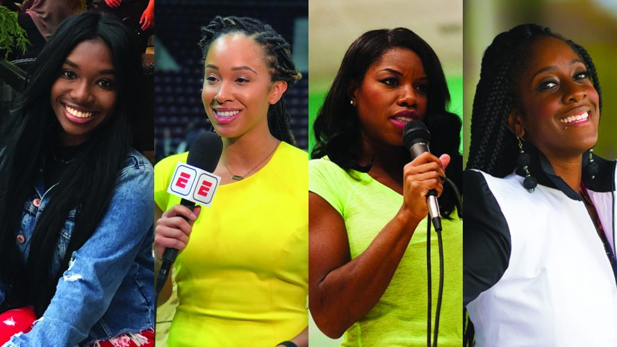 Portraits of four young Black women: Vanessa Wright, Meghan McPeak, Perdita Felicien and Tabia Charles-Collins.