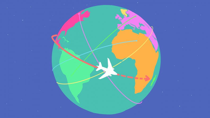 Illustration of a globe with a plane travelling across it