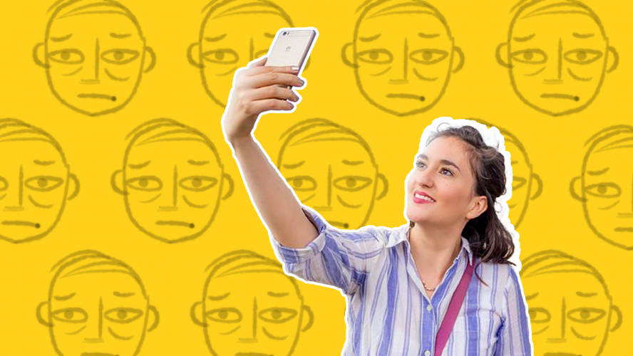 A woman taking a selfie with a bunch of disapproving faces behind her.