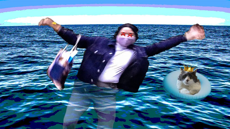 Photoshopped image of outgoing editor-in-chief Catherine Abes flailing her arms while drowning in a body of water. Catherine's cat Bella looks on beside her in a floaty.