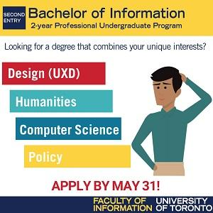 "Ad for the 2-year Bachelor of Information program at the University of Toronto. Text on the ad reads: ""Looking for a degree that combines your unique interests? Design (UXD), Humanities, Computer Science, Policy. Click the link to apply by May 31!"""