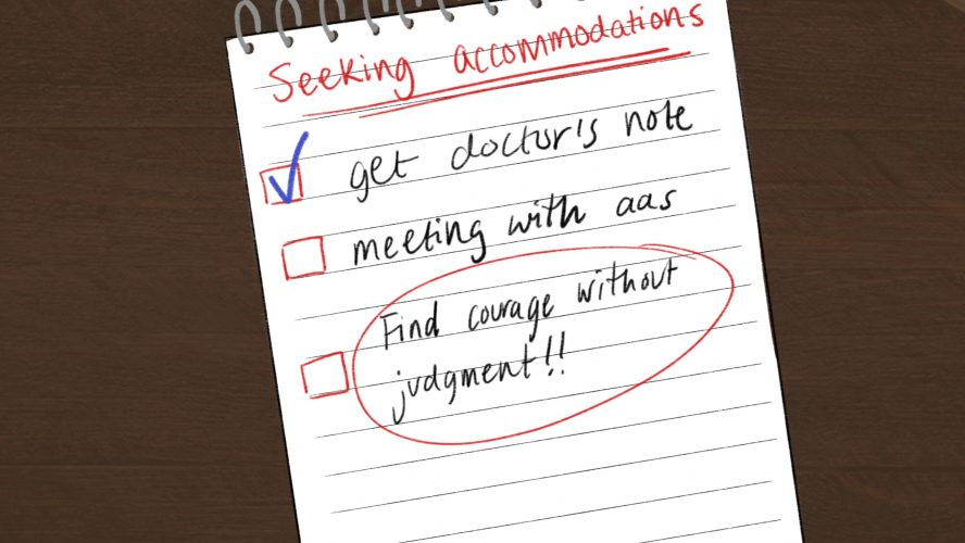 Check list on a note pad with three tasks: get doctor's note which is checked, meeting with aas and a red circle around find courage without judgment!