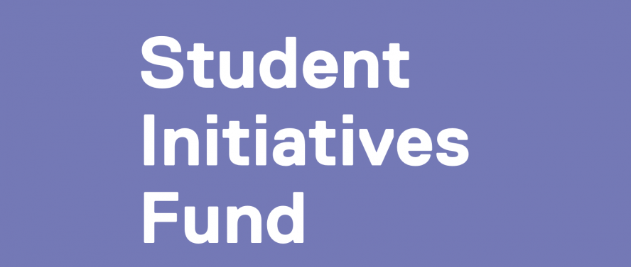 Light purple background with white text saying Student Initiatives Fund