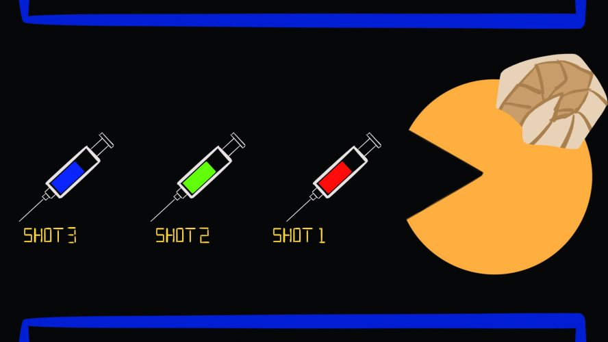 A pac man with its mouth open facing towards three consecutive vaccine needles that say shot one, shot two and shot three