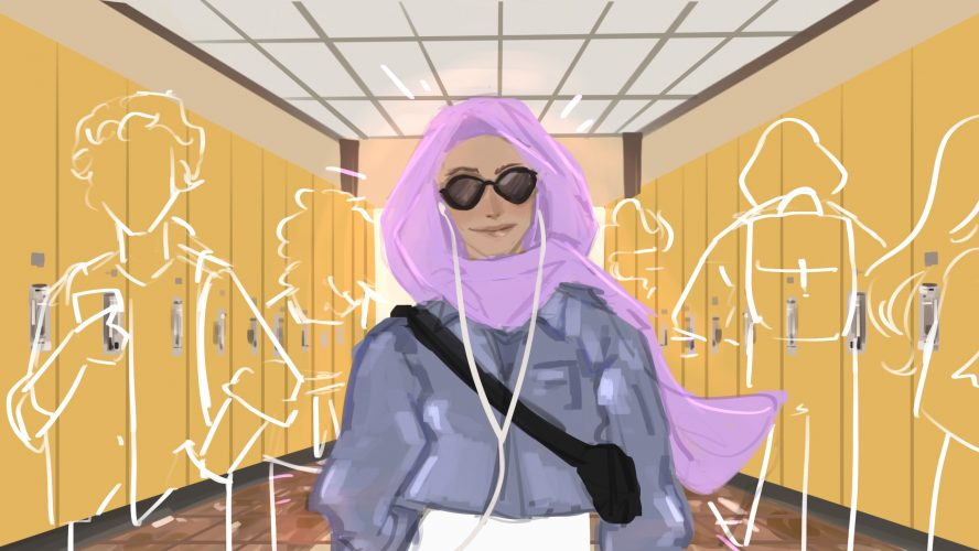 Woman wearing purple hijab listening to music with faded people in a school hallway