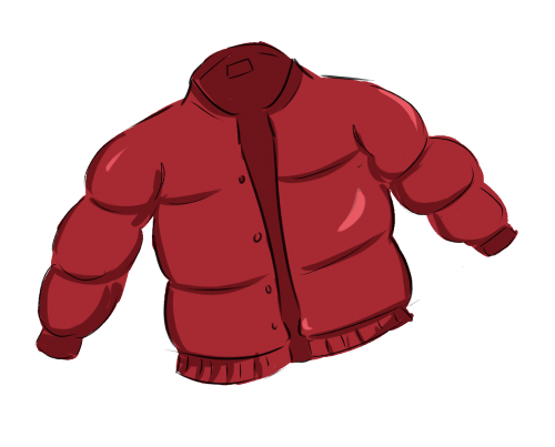 A red puffer jacket