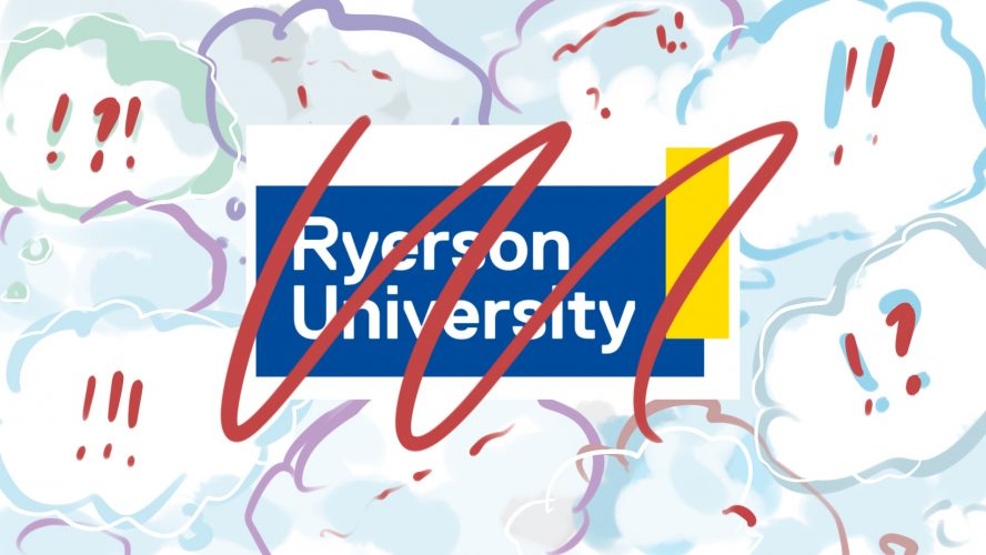 The Ryerson logo crossed out with clouds of exclamation marks and question marks around it