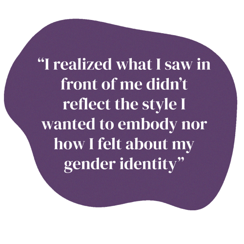 """This is a purple shape. There is text on it that says """"I realized what I saw in font of me didn't reflect the style I wanted to embody nor how I felt about my gender identity"""""""