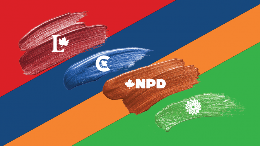 Paint swatches of red, blue, orange and green, each with their corresponding party logos on top: Liberal, Conservative Party of Canada, New Democratic Party and Green Party, respectively. Again, with the corresponding colours, the background consists of diagonal swatches of the party colours.