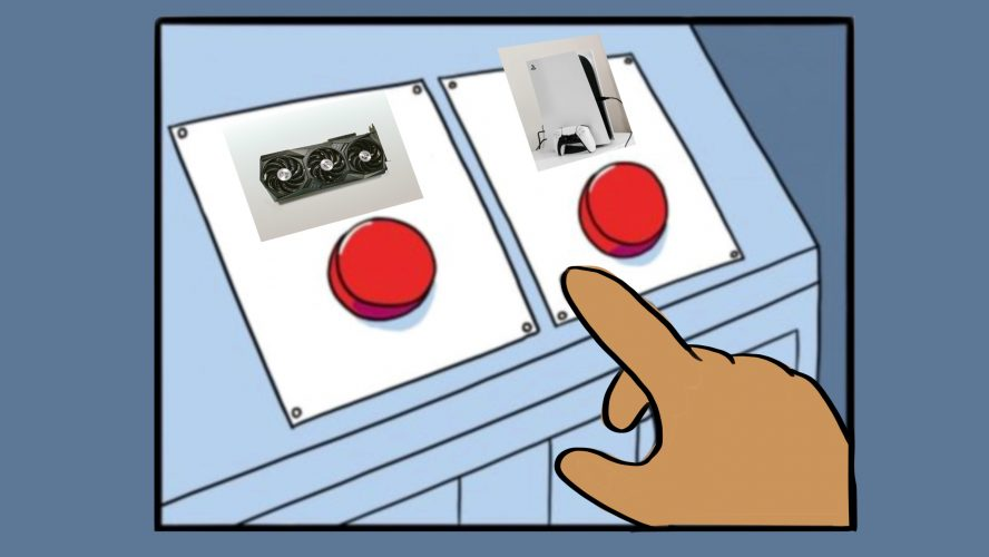 A hand deciding between pushing two red buttons, one with a graphics card on it and the other with a gaming console.