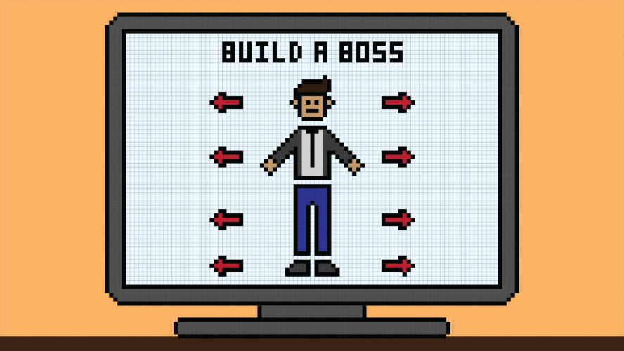 """A character customization screen that says """"build a boss"""""""